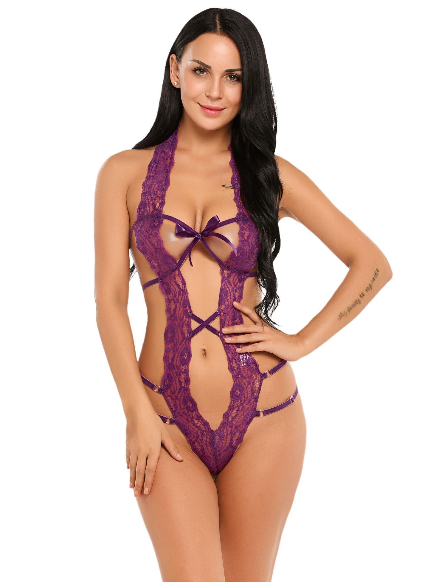 Dickin Sexy Lingerie for Women Deep V Halter One Piece Lace Bodysuit Babydoll