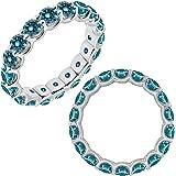 1 Carat Blue Diamond Promise Engagement Wedding U Shape Full Eternity Band Ring 14K White And Yellow Gold