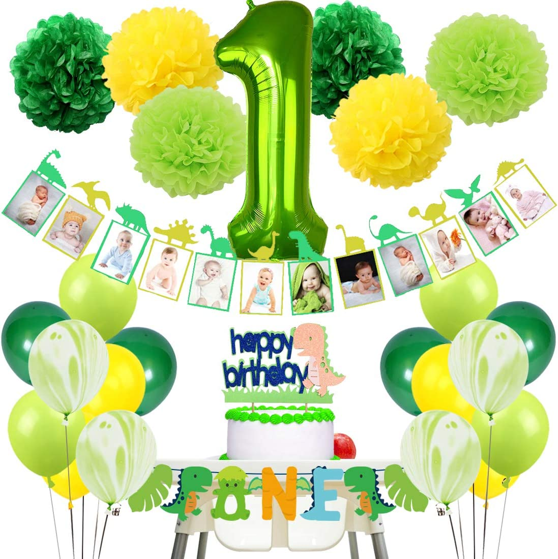 KREATWOW Dinosaur First Birthday Decorations Monthly Picture Banner One Highchair Banner Little Dino Cake Topper