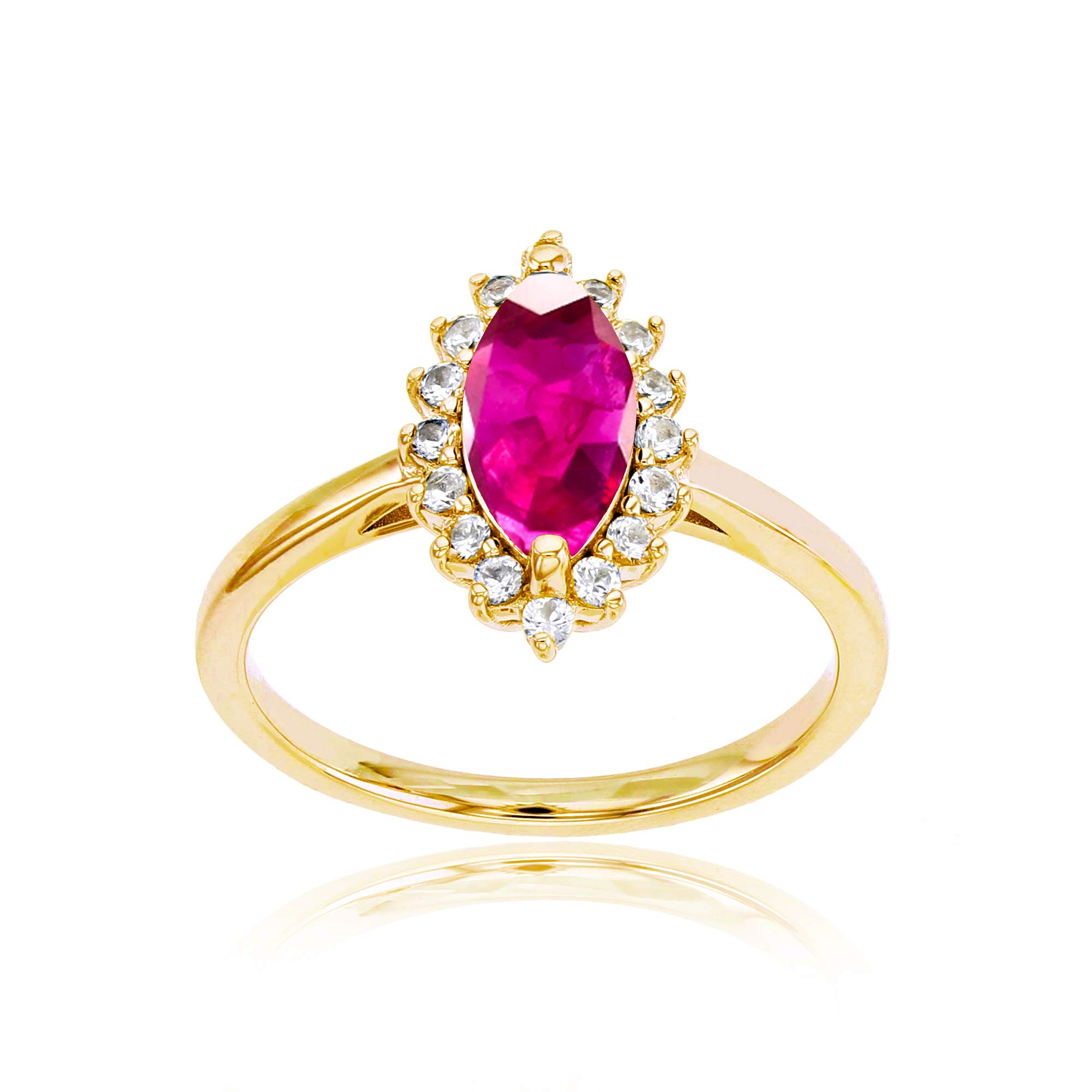 Sterling Silver Yellow 10x5 Marquise Glass Filled Ruby & Round Created White Sapphire Ring