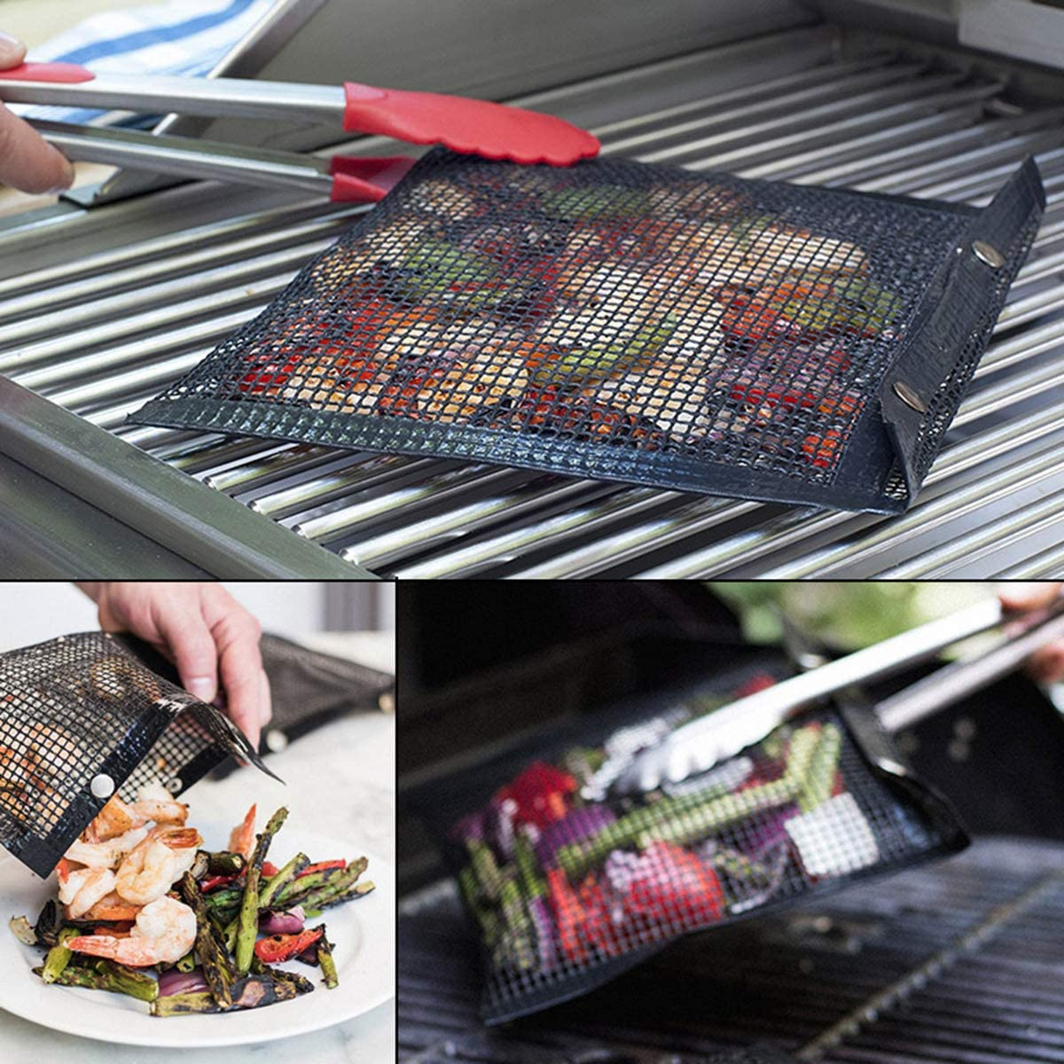 Leyeet Reusable Non-Stick Grilling Mesh Bag Cooking BBQ High temperature grill grid For Outdoor Picnic
