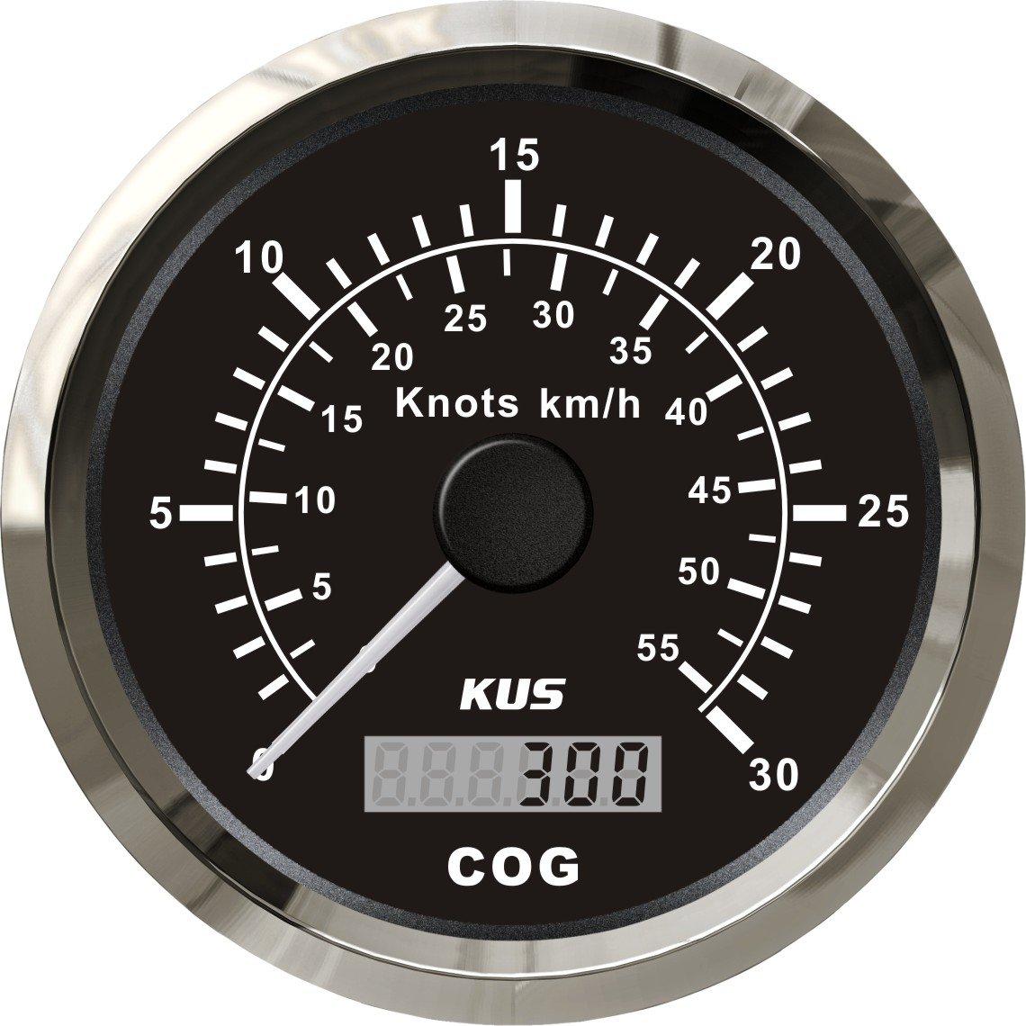 Kus GPS velocí metro 0 –  30 nudos con retroiluminació n 85 mm 12 V/24 V SPR