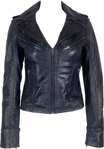 UNICORN Mujeres Genuino real cuero chaqueta Negro encerado #Z6: Amazon.es: Ropa y accesorios