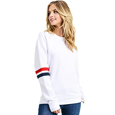 esstive Women's Ultra Soft Fleece Lightweight Casual Custom Sleeves Crew Neck Sweatshirt: Clothing
