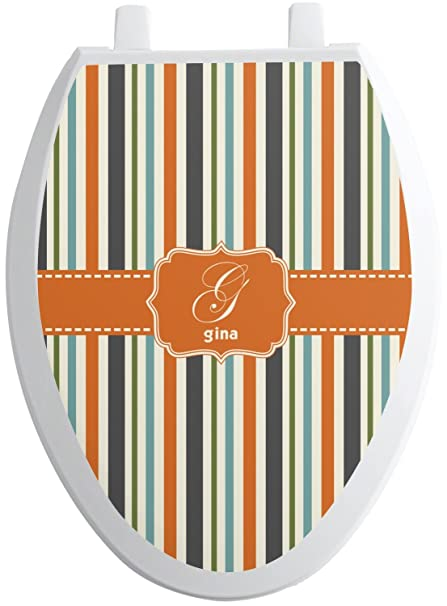 Pleasing Amazon Com Rnk Shops Orange Blue Stripes Toilet Seat Gamerscity Chair Design For Home Gamerscityorg