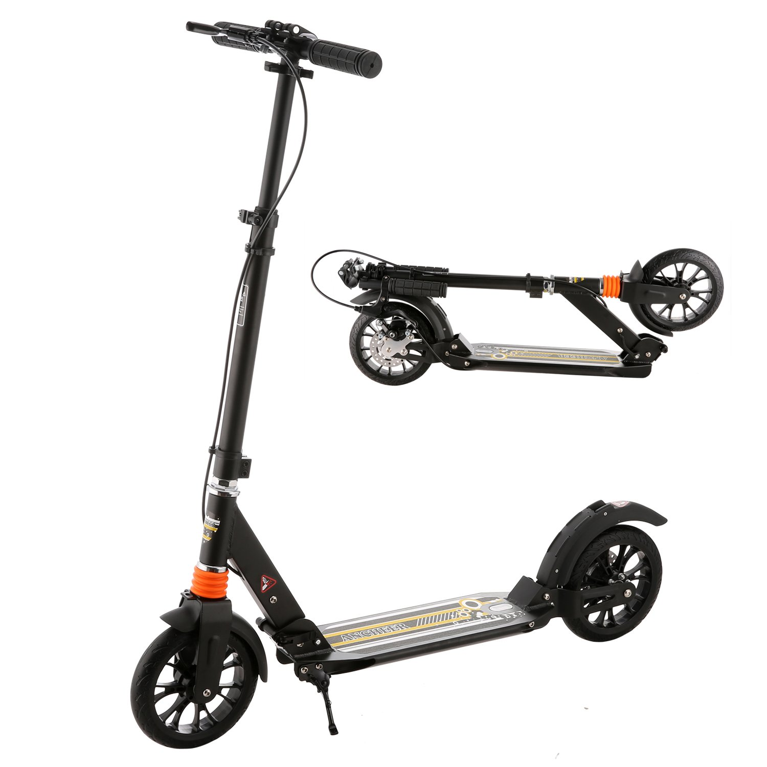 Ancheer Adult Teen Kick Scooter with Dual Suspension, 2 Big Wheels