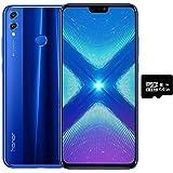 "Honor 8X (64GB, 4GB RAM) 6.5"" HD, Dual SIM GSM Factory Unlocked Smartphone - US + Global 4G LTE International Version JSN-L23 (Blue)"