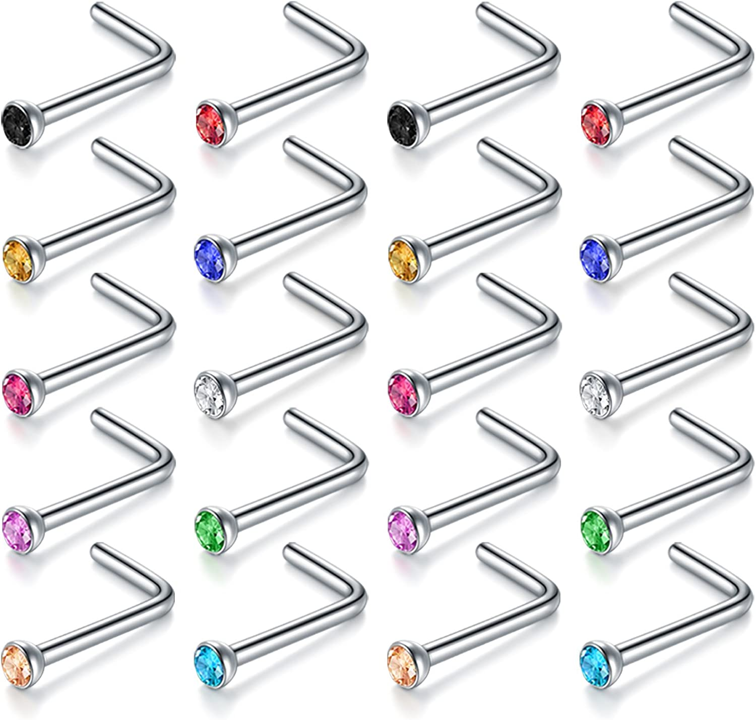 vcmart Nose Rings Studs-20G 20-30pcs 2mm CZ Nose Screw Studs 316L Surgical Steel Bone Nose Studs Nose Piercing Body Jewelry