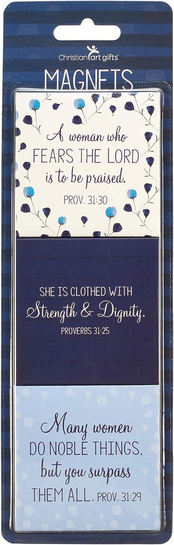 "Christian Art Gifts Blue Flower Refrigerator Magnets | Proverbs 31 Woman Bible Verse | Prayers For A Mom's Heart Collection Inspirational Fridge Magnet Set/3-2.5"""