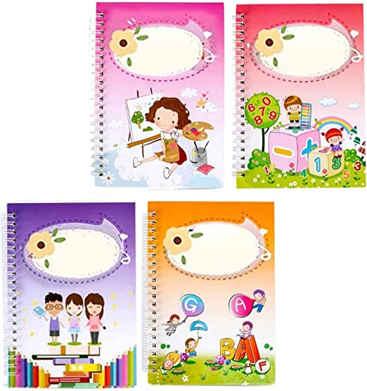 Kids Magic Writing Board Reusable Magic Writing Paste Children,Be Reused Handwriting Copybook Set Magic Calligraphy,Tracing Book for Kid Calligraphic Letter Writing with Pen