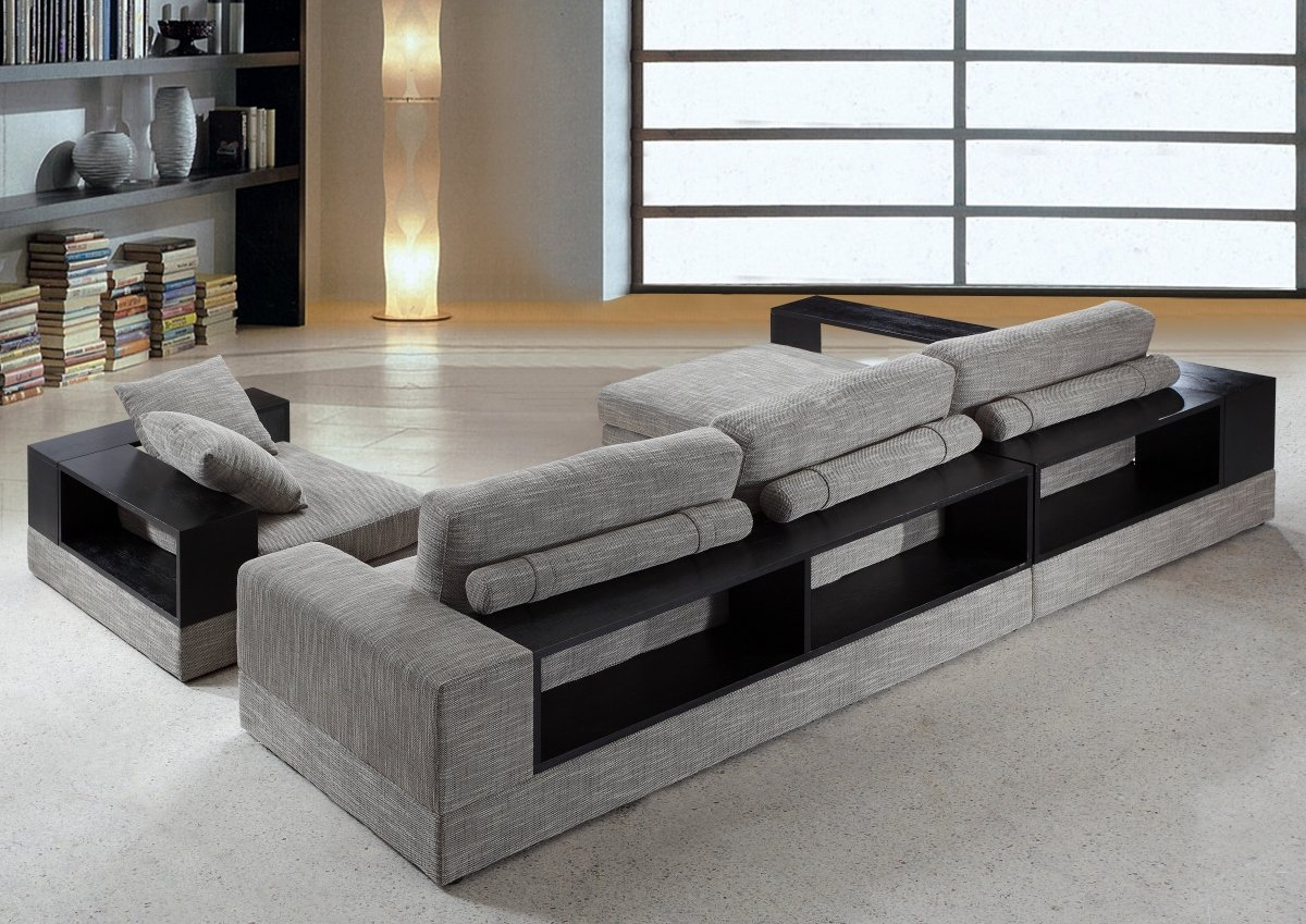 amazoncom anthem  grey fabric modern sectional with wood shelveskitchen  dining. amazoncom anthem  grey fabric modern sectional with wood