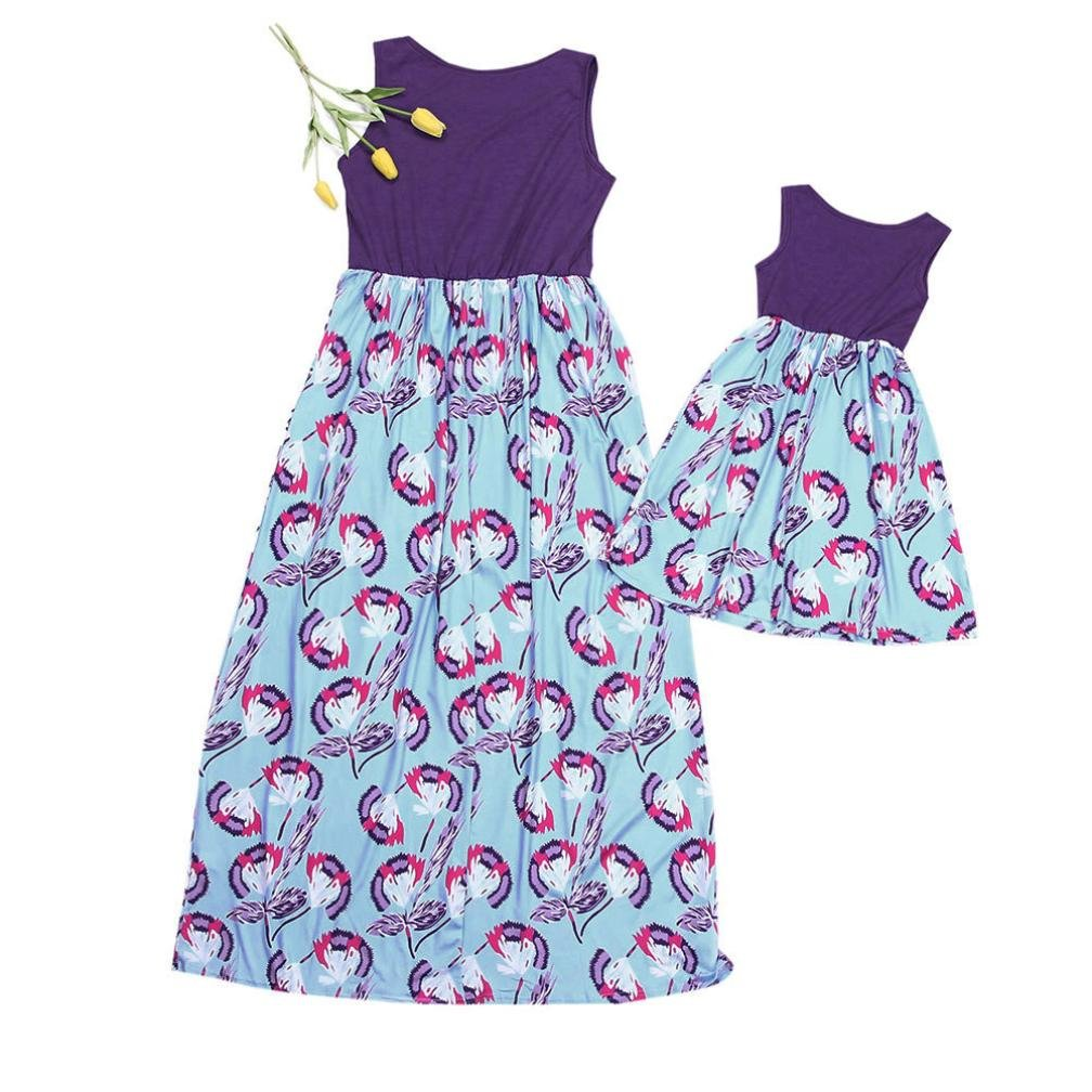 Hatoys Mom and Me Casual Dresses,Floral Family Clothes Monther and Daughter Feather Splice Sundress Sleeveless Dress