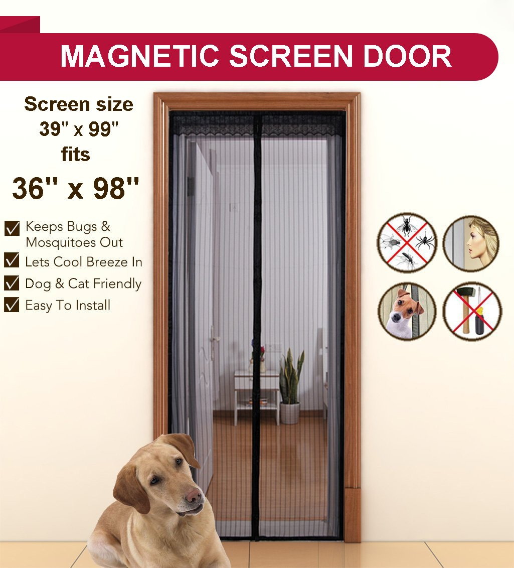 Aloudy magnetic screen door fits doors up to 36 x 98 max full aloudy magnetic screen door fits doors up to 36 x 98 max full frame velrco instant mesh curtain hands free bugs off door screen with magnets amazon vtopaller Images