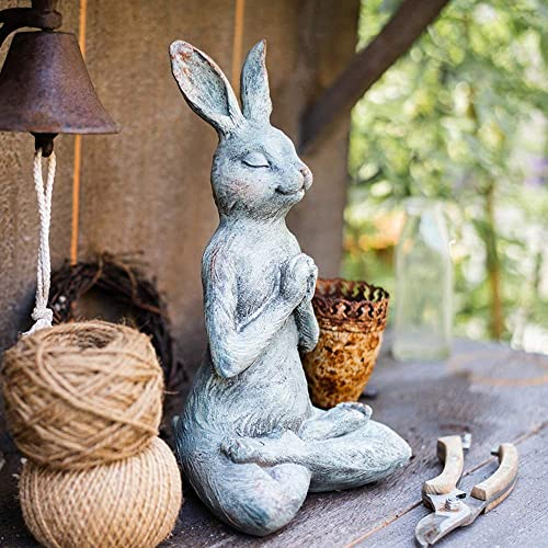 OwMell Praying Yoga Rabbit Statue Figurine Resin Yoga Bunny Figure Indoor Outdoor Garden Sculpture Patio Yard Lawn Decor 13 Inch