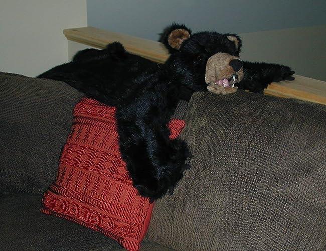 Amazon com: Plush Black Bear Rug - Medium, Open Mouth: Handmade