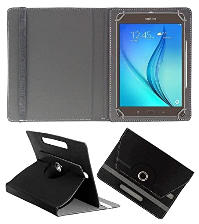 Acm Rotating 360 Leather Flip Case Compatible with Samsung Galaxy Tab A T355y Tablet Cover Stand Black