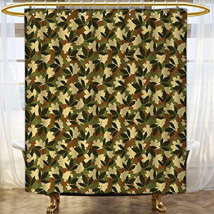 Anhounine Forest Green Shower Curtains Fabric Leafage Pattern With Nature Theme Camo Style Woodland Hiding