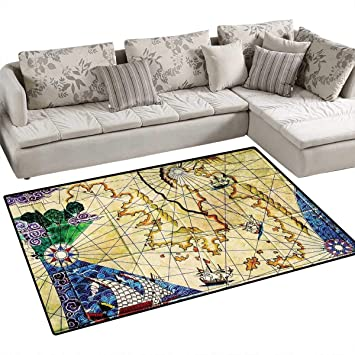 Amazon Com Compass Anti Static Area Rugs Old Nautical Chart Ancient