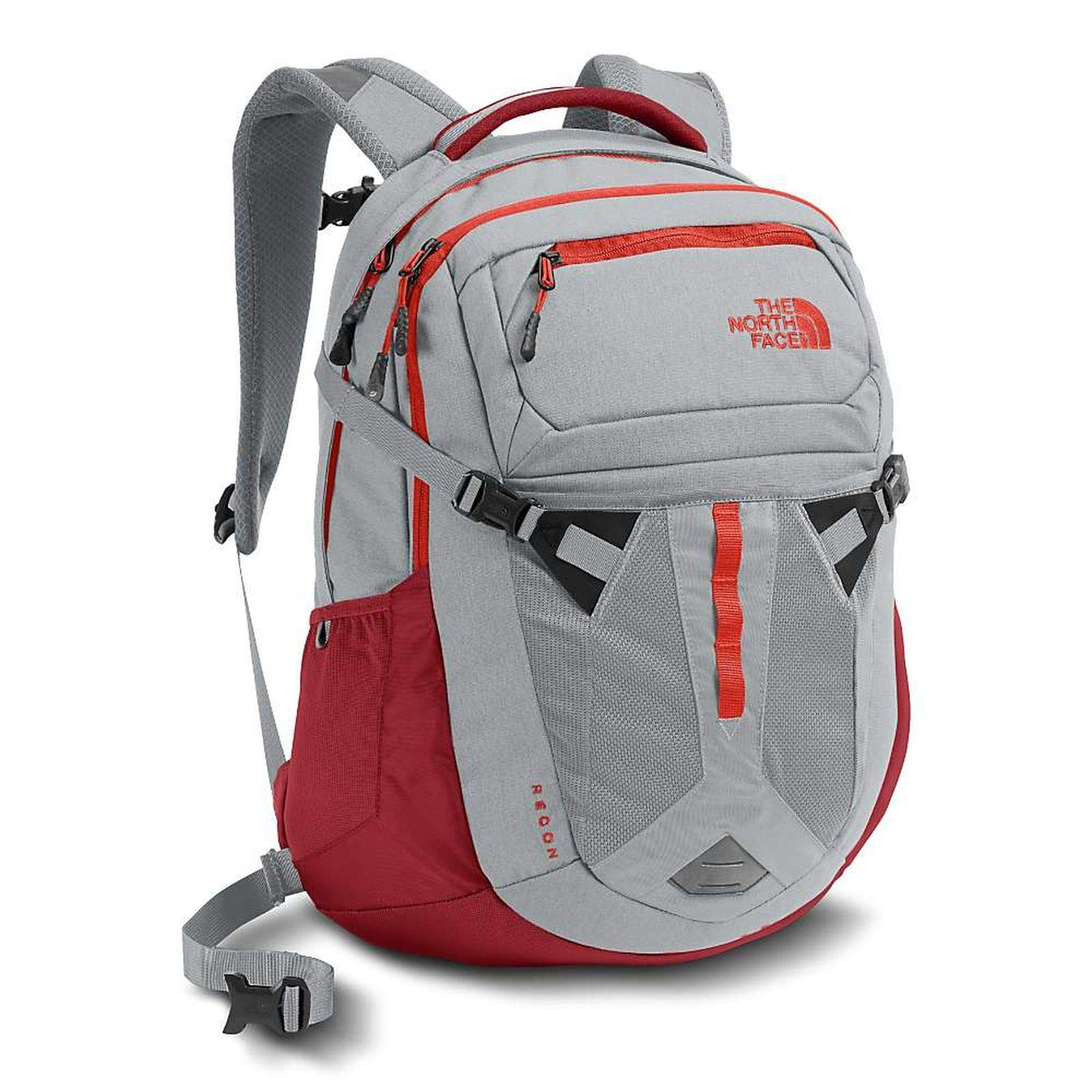 The North Face mens RECON Backpack CLG41SX - HIGH RISE GREY/FIRE BRICK RED