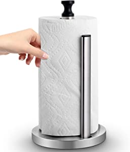 Homemaxs Paper Towel Holder,One-Handed Tear Stainless Steel Kitchen Paper Towel Dispenser With Weighted Unti-Skid base and Spring Active Arm