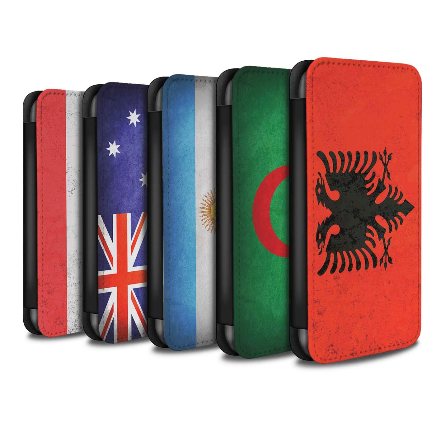 eSwish PU Leather Wallet Flip Case/Cover for Huawei P Smart/Pack 53pcs Design/Flags Collection