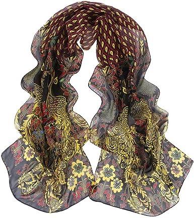 Green Peacock Pattern Silk Silky Fashion Ladies Scarf Shawl Wrap Headscarf Stole