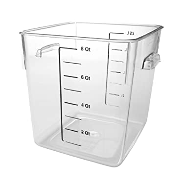 Rubbermaid Commercial Products Plastic Space Saving Square Food Storage Container for Kitchen/Sous Vide/Food Prep, 8 Quart, Clear (FG630800CLR)