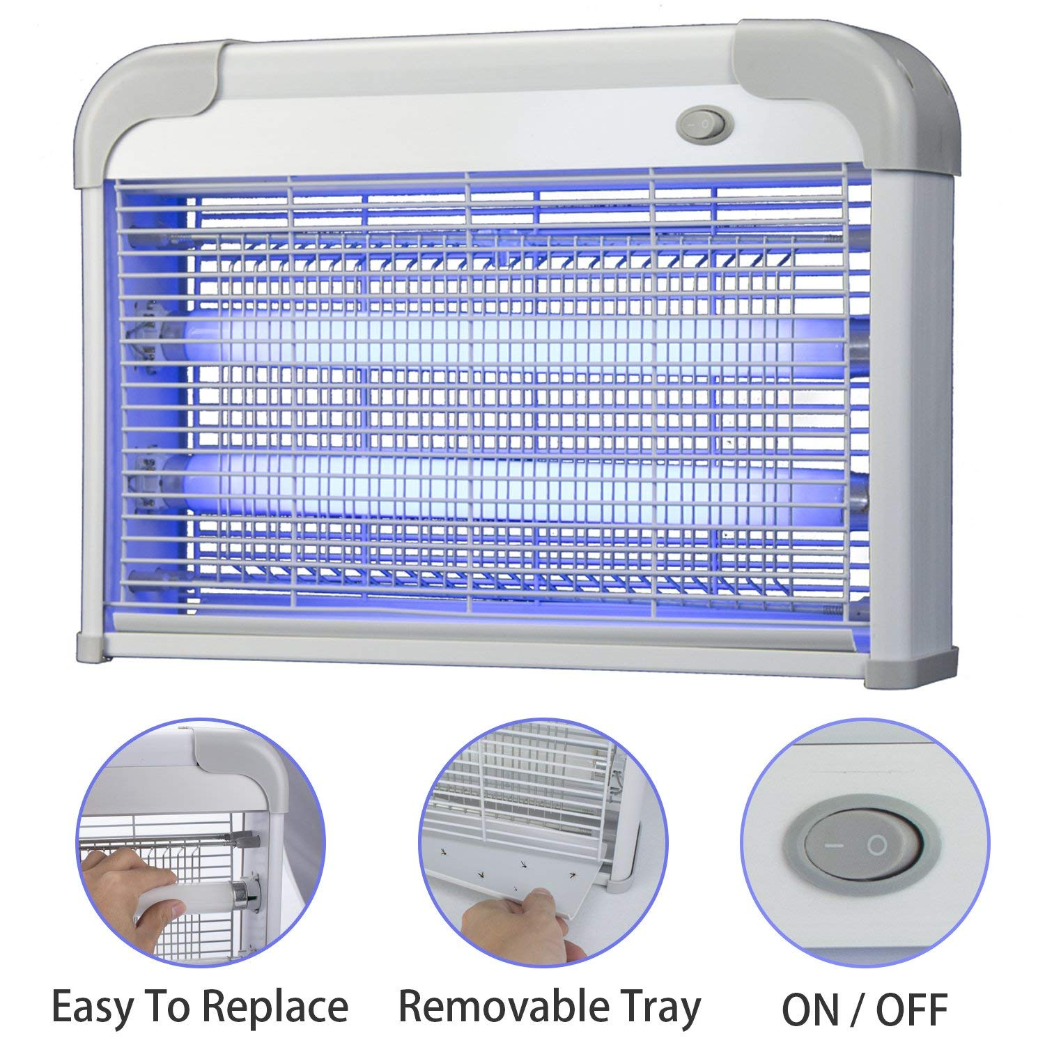 GrainFull 1 Electric Bee Zapper Include Two Energy Saving Ultraviolet Li, White by GrainFull