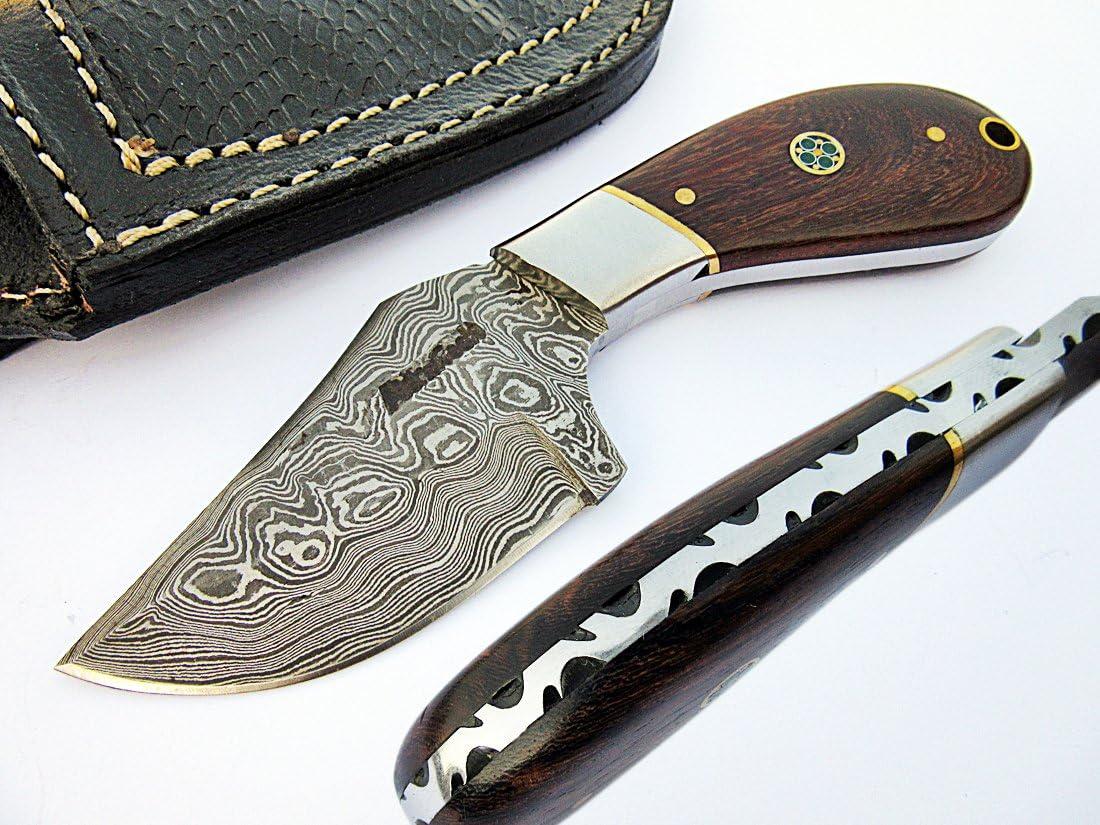 AishaTech Steerman Hunting Skinners Damascus Steel Blade Rose Wood Handle