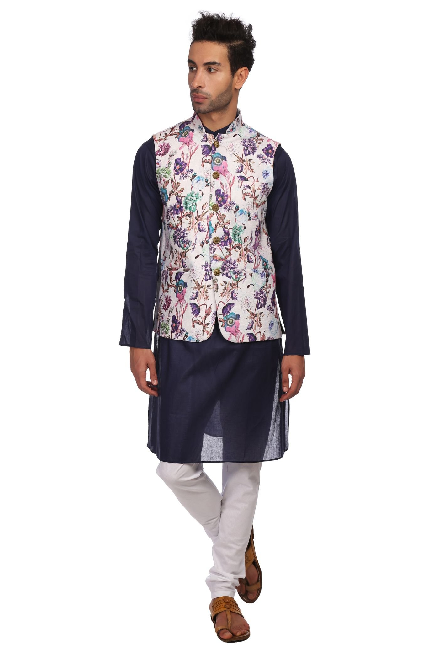 WINTAGE Men's Imported Rayon Printed Nehru Jacket Waistcoat and 100% Cotton Blue Kurta Pajama Indian Ethnic Set : Small