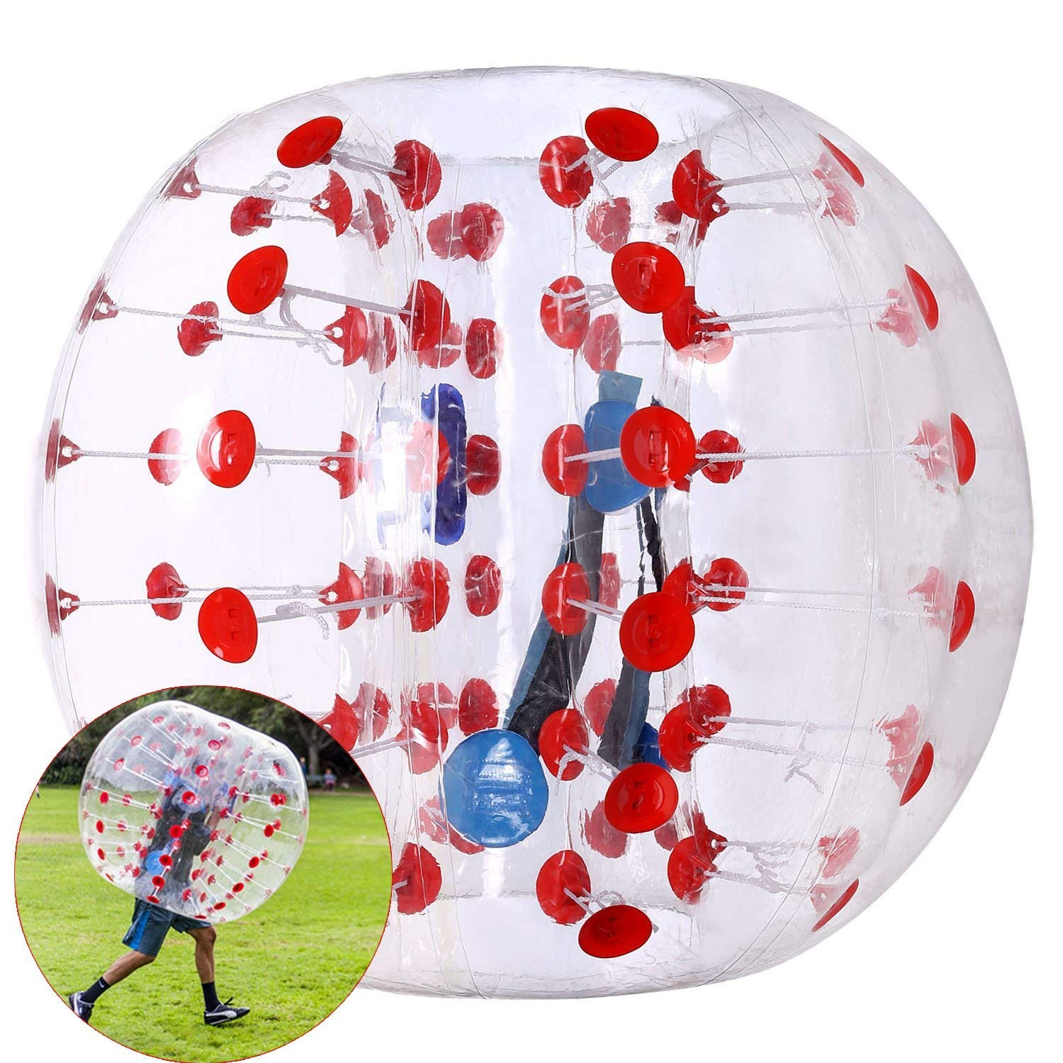 Anfan 1.2~1.5M Inflatable Bumper Ball 25.6 in Diameter Bubble Soccer Ball Transparent Material Human Knocker Ball for Adults and Child (Red Dot, 1.5M) by Anfan
