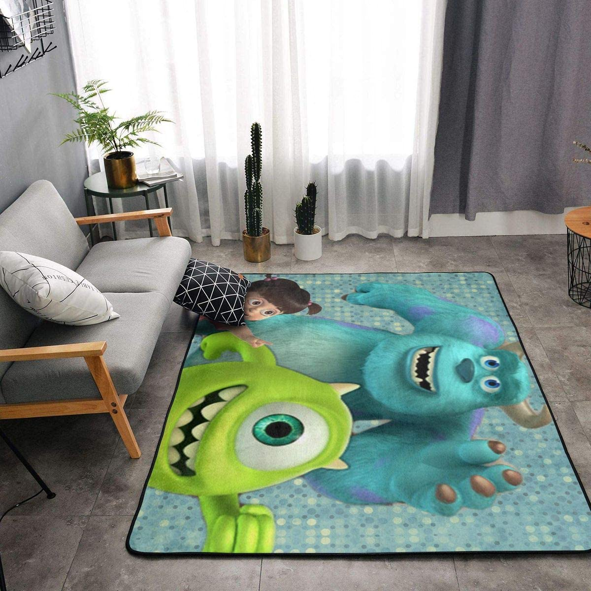 Monsters Inc Carpets Indoor Soft Rugs Living Room Area Rugs Suitable for Children Play Home Decorator Floor Bedroom Carpet 63 X 48 Inches,White,One Size