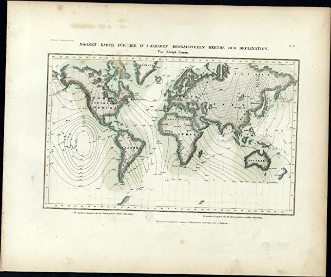 Amazon Com World Map With Wind Flows Scientific C 1850 Meyer Scarce