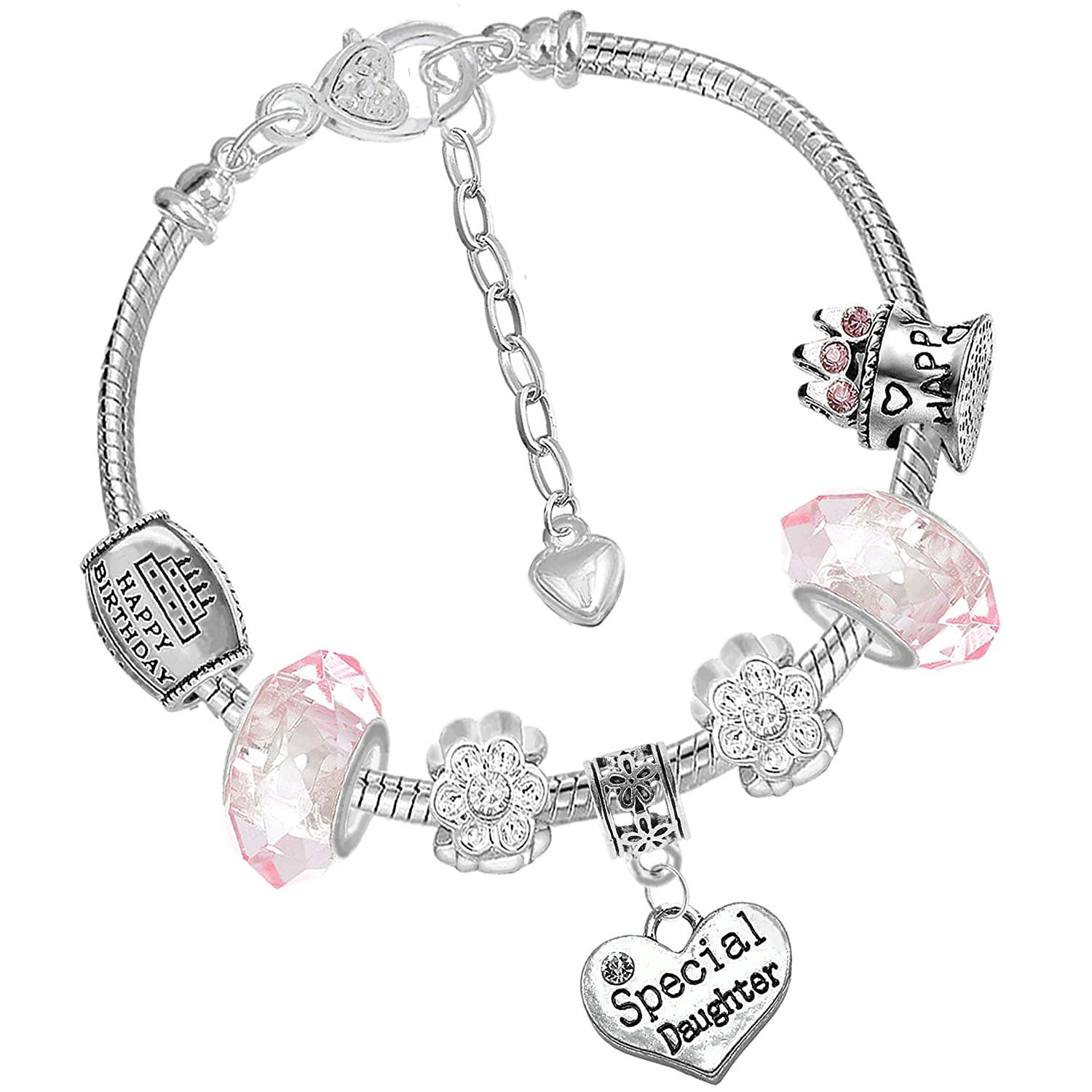 Special Daughter Girls Pink Crystal Charm Bracelet and Birthday Card Gift Box Set Charm Buddy Charm Buddy ® NXG-HBA-1 Ch-3 Q-39.