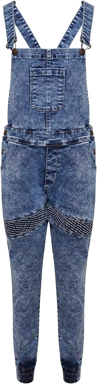 Urban D Biker Dungarees Kids Girls Boys Junior Denim Childrens Stretch Dark Wash Playsuit Jumpsuit Long UK Jeans Bib Overalls Pinafore Ralph Biker Denim Blue Dungaree Full, Age 13 Years