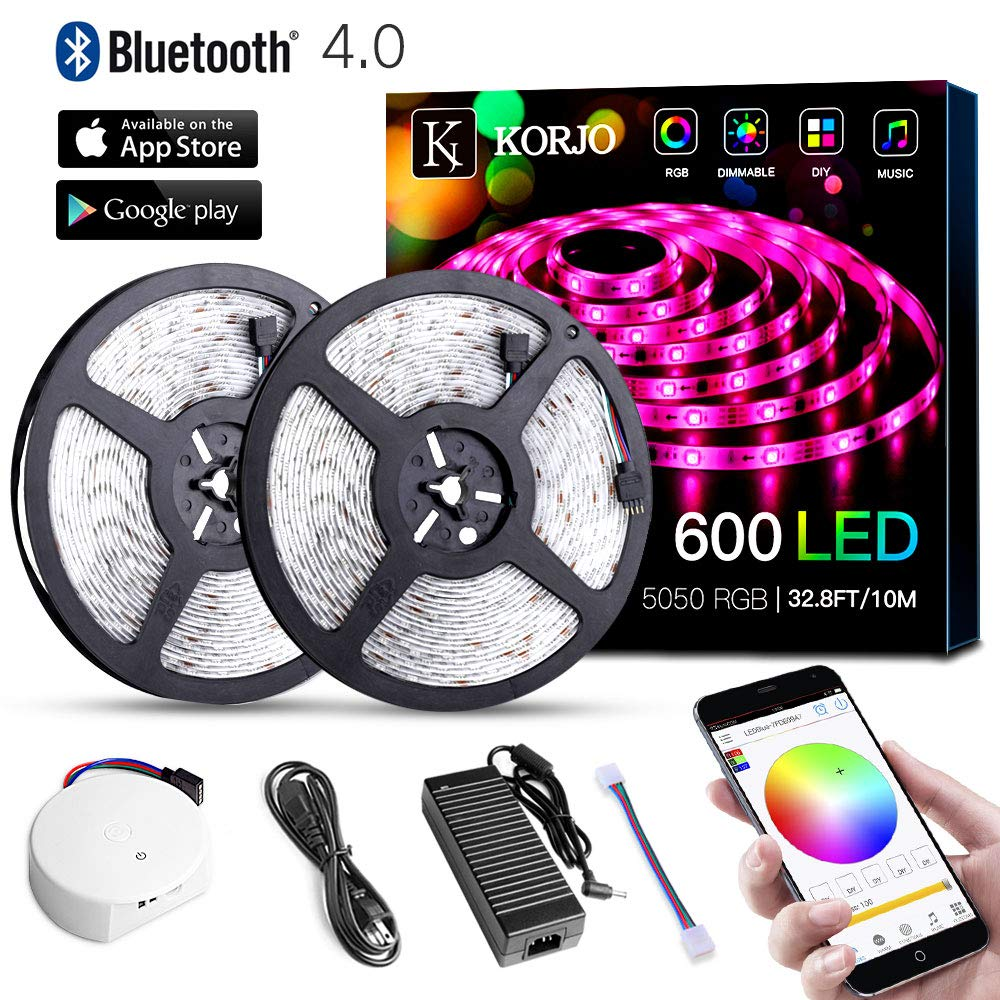Solarphy 32.8ft/10m Led Strip Lights, Bluetooth App Controlled LED Music Light Waterproof Light Strips, 24V 600 Leds 5050 RGB Multicolored Rope Light Kit, Flexible Led Strip Lighting for Home Kitchen