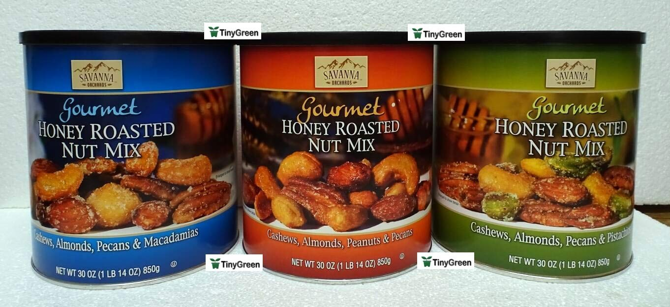 Savanna Orchards Gourmet Honey Roasted Nut Mix Three Flavors Bundle (Pack of Three)