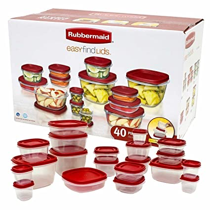 Rubbermaid Easy Find Lids Food Storage Container 40-Piece Set Red  sc 1 st  Amazon.com & Amazon.com: Rubbermaid Easy Find Lids Food Storage Container 40 ...