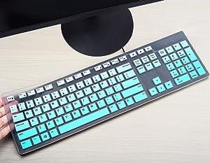 CASEDAO Ultra Thin Keyboard Cover Compatible with Dell Wired Keyboard KB216 & Dell Wireless Keyboard KM636 - Gradual Mint
