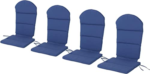 Christopher Knight Home Malibu Outdoor Adirondack Chair Cushion Set of 4 by Navy Blue