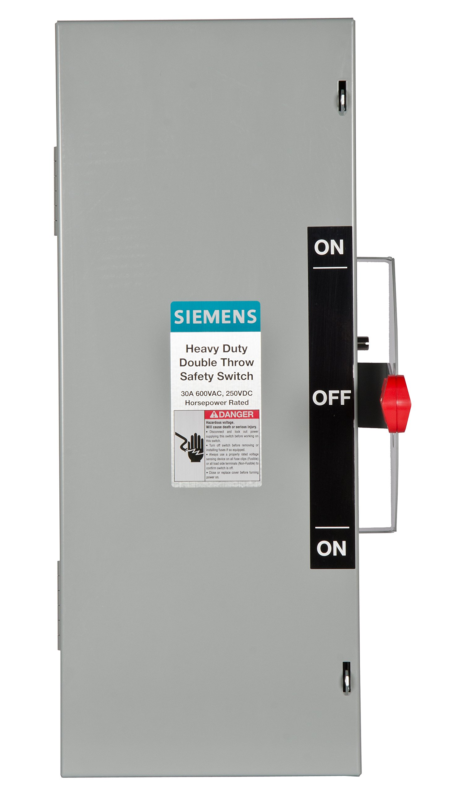 Siemens DTNF361 30-Amp 3 Pole 600-volt 3 Wire Non-Fused Double Throw Safety Switches