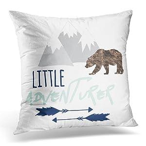 VANMI Throw Pillow Cover Baby Little Adventurer in Navy Grey and Aqua Boy Decorative Pillow Case Home Decor Square 16x16 Inches Pillowcase