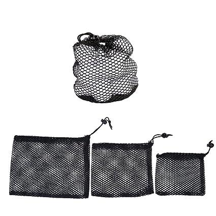 d83041808e2b Amazon.com : Golf Ball Mesh Bag 3 PCS Nylon Mesh Drawstring Pouch ...