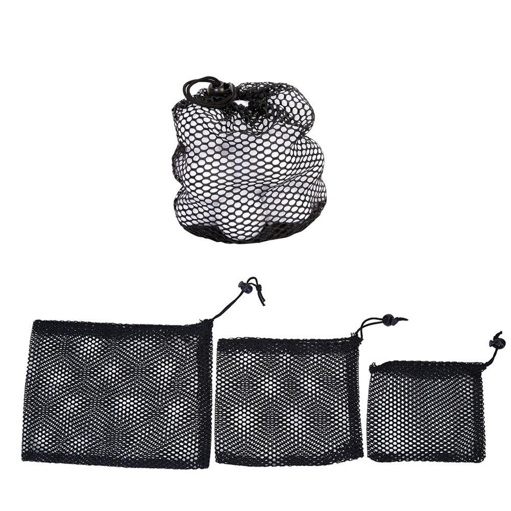 Golf Ball Mesh Bag 3 PCS Nylon Mesh Drawstring Pouch Golf Balls Holder Storage Bag Accessory(S/M/L)