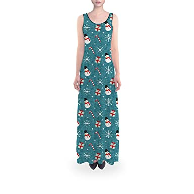 Snowmen and Candy Canes Sleeveless Dress Flared Short