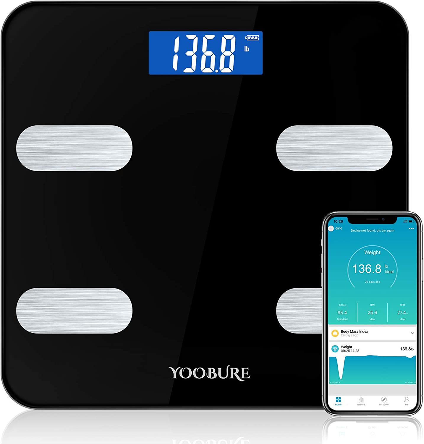Bluetooth Body Fat Scale, Yoobure Smart Scale Bathroom Digital Weight Scale with iOS Android APP, Highly Accurate Body Weight BMI Scale, Round Corner Design Body Composition Analyzer