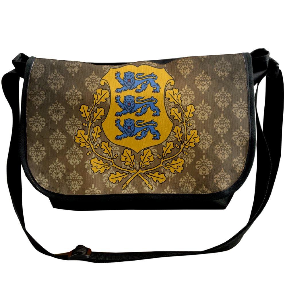 Lov6eoorheeb Unisex Coat Of Arms Of Estonia Wide Diagonal Shoulder Bag Adjustable Shoulder Tote Bag Single Shoulder Backpack For Work,School,Daily