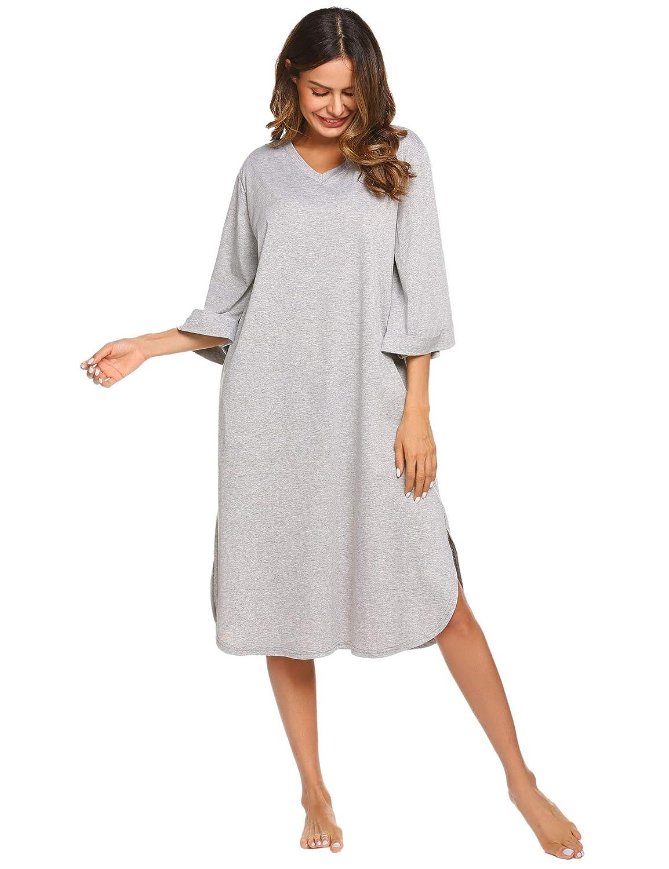 Ekouaer Long Nightgown, Women's Sleepwear Cotton Loose Plus Nightshirt Pockets Full Length Loungewear Sleep Dress
