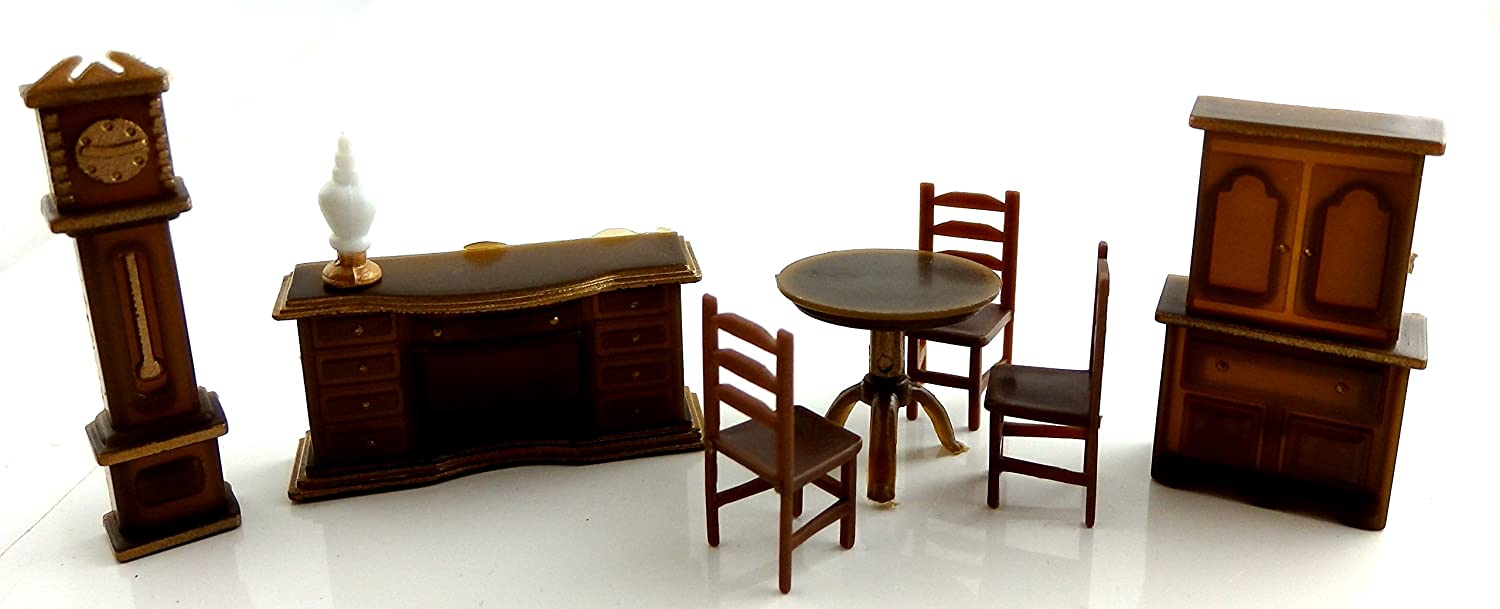 Amazon.com: Dollhouse Miniature 1:48 Scale Plastic Dining Room Furniture  Set Suite: Toys U0026 Games