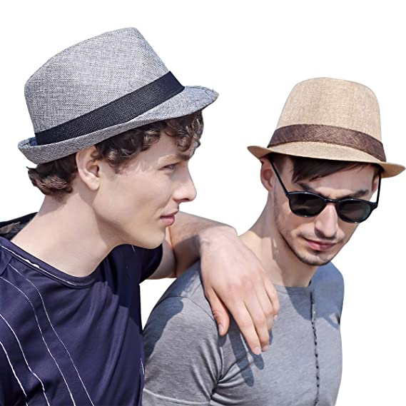 962609bbd6e Erigaray Panama Hats for Men Summer Sun Straw Hat Man Fashion Fedora Beach  Caps Fedoras